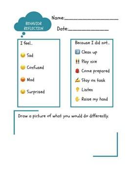 PreSchool-K Emoji Behavior Reflection Worksheet