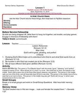 PreTeen Church Lesson