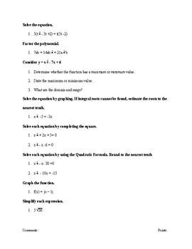 PreTest/ PostTest for Algebra 1