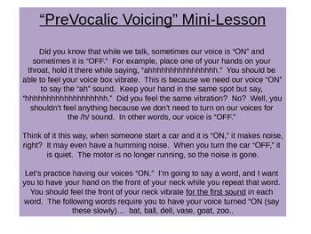 PreVocalic Voicing Mini-Lesson