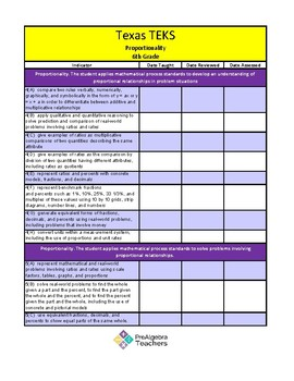FREE Prealgebra Grade 6 Texas TEKS Checklist