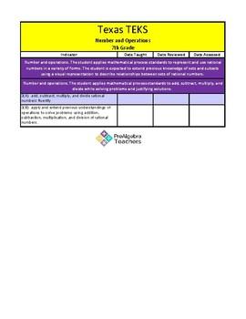 Prealgebra Grade 7 TEKS Checklist