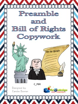 Preamble & Bill of Rights to the Constitution Copywork Notebook - EBOOK
