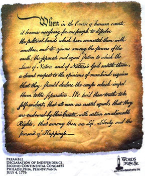 Preamble - Declaration Of Independence - July 4, 1776