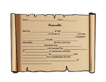Preamble Fill-in-the-Blank Worksheet by SocialStudiesGeek | TpT