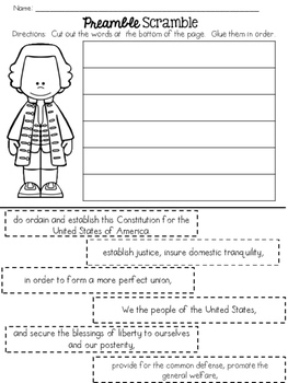 Unscramble the Words: Constitution Preamble | abcteach