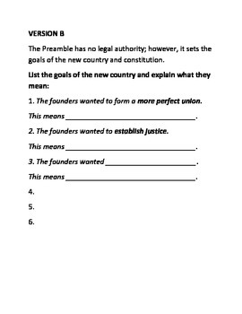 Preamble Writing Assessment