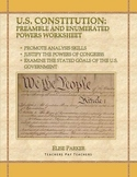 U.S. Constitution Analysis: Preamble and Enumerated Powers Worksheet