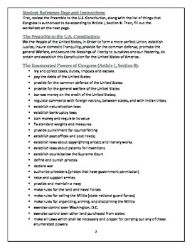 u s constitution analysis preamble and enumerated powers worksheet. Black Bedroom Furniture Sets. Home Design Ideas
