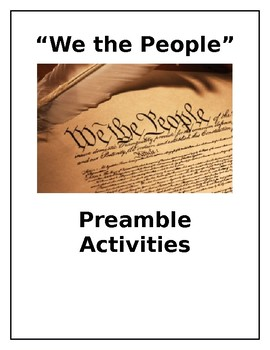 Preamble of the Constitution: Cloze activity, parts of speech, vocabulary, theme