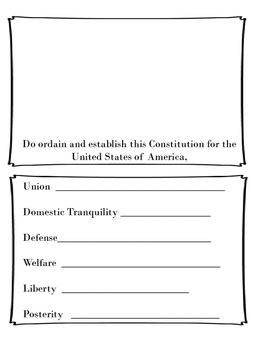 Preamble of the Constitution- Kid Created