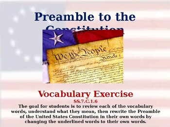 Preamble of the Constitution - Unit Vocabulary Exercise