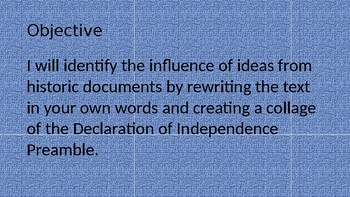 Preamble of the Declaration of Independence Rewrite and Collage