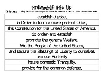 Preamble of the U.S. Constitution Mix Up Scramble