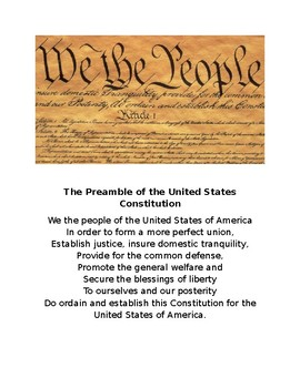 Preamble of the Unites States Constitution