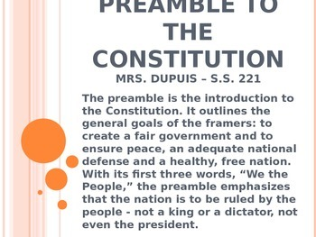 Preamble to the Constitution - Analysis Powerpoint