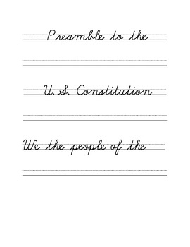 Preamble to the Constitution Cursive Copywork