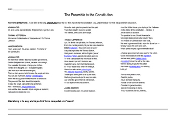 Preamble to the Constitution - Flocabulary Song and Translation Chart