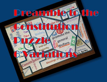 Preamble to the Constitution Jigsaw Puzzle- Easy to Cut SS.7.C.1.6