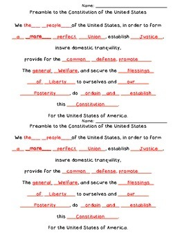 Preamble to the Constitution Quick Quiz