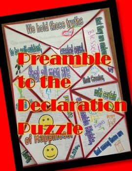 Preamble to the Declaration of Independence Jigsaw Puzzle- Easy to Cut