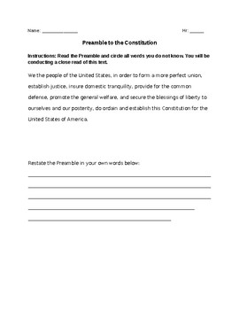 Preamble to the U.S. Constitution Close Reading