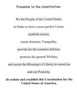 Preamble to the U.S. Constitution by James Madison