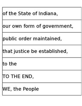 Preamble to the fourth grade constitution puzzle