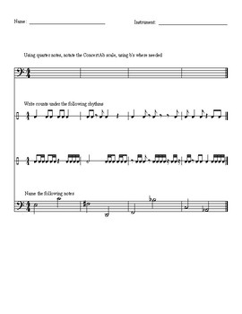 Preassessment- Music/Notation- bass clef