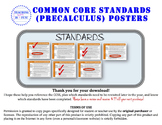 Precaculus (Math Analysis) Common Core Standards Posters (