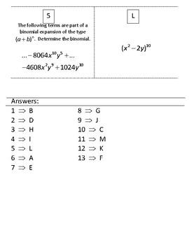 Precalculus Binomial Theorem Matching Activity