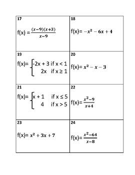 Precalculus: Classifying Discontinuities Class Card Matching Activity