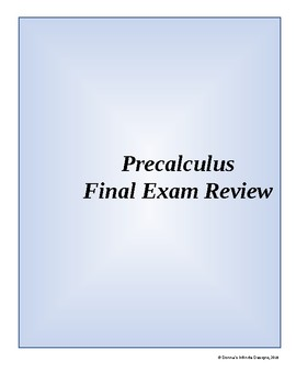 Precalculus Final Exam Worksheets & Teaching Resources | TpT