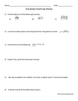 Precalculus Final Exam Review