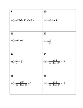 Precalculus: Function End Behavior Group Matching Activity