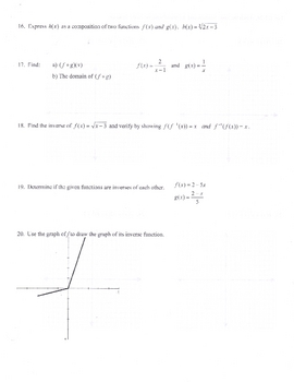 Precalculus Functions Test (Domain Range plotting )