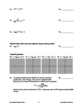 Precalculus Logarithm Test
