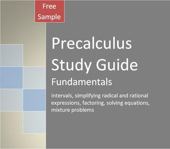Precalculus Study Guide & Review 1: Fundamentals (Free Sample)