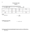 Precalculus Test - Analytical Trigonometry - Cliff
