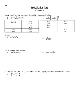 Precalculus Test - Analytical Trigonometry - Norm by