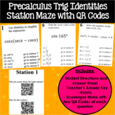 Precalculus Trig Identities Station Maze with QR Codes