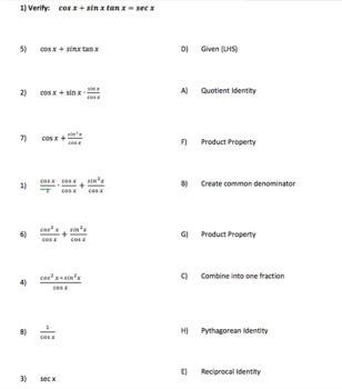 Precalculus Trig Verifying Trigonometric Identities - Matching Proof Activity