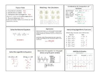 Precalculus/Trigonometry warm-up activites