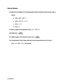 Precalculus - Unit 2 Review - Polynomials and Rational Functions
