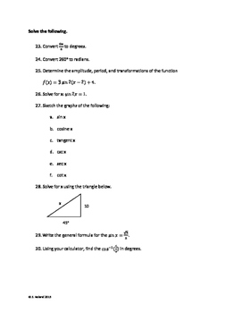 Precalculus - Unit 3 Review - Trig Functions and Their Graphs