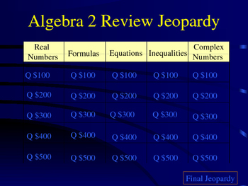 Precalculus first day Jeopardy