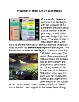 Precambrian Time: Life Begins on Earth Common Core activities