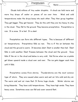 Precipitation {Differentiated Close Reading Passages & Questions}
