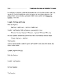 Precipitation Reactions and Solubility: Worksheet and Answer Key