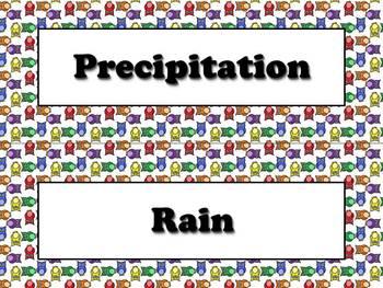 Precipitation Vocabulary Strips for Calendar - Owls Theme